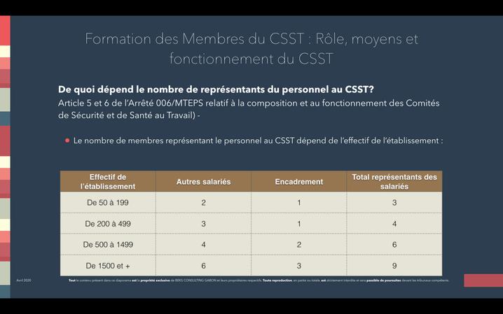 Image issue du diaporama de la formation en ligne de BEKS CONSULTING GABON CSST/DP