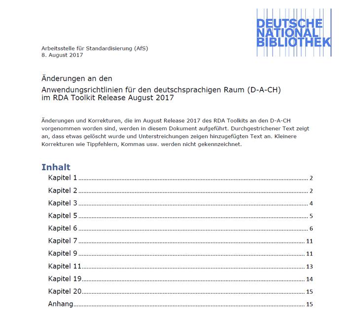 Die Langversion der D-A-CH-Änderungshistorie für August 2017 im RDA-Info-Wiki