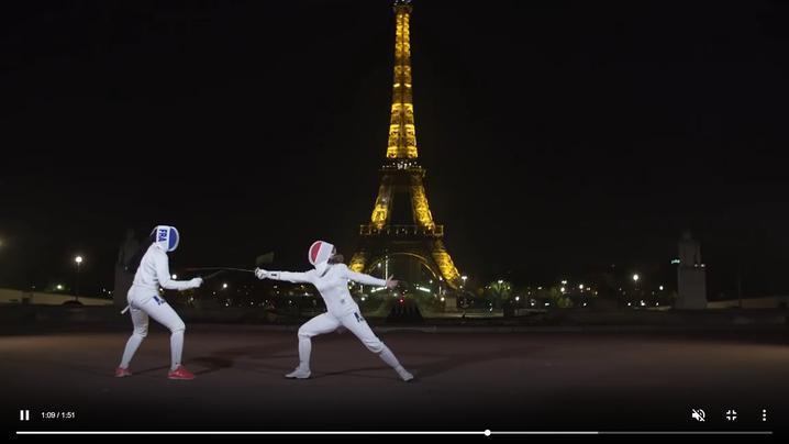 vidéo, escrime, fleuret, élégance, Paris, Tour Eiffel