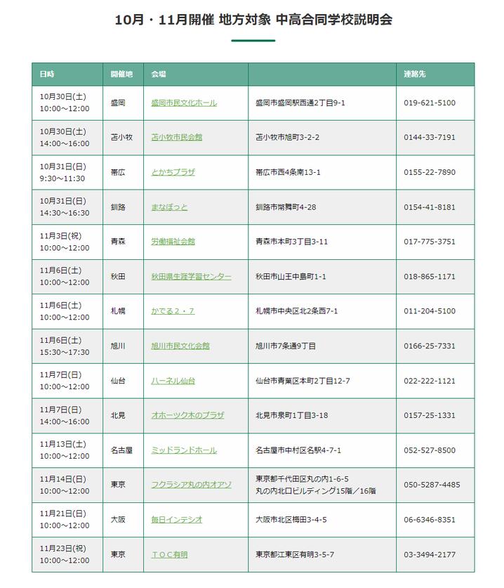 函館ラ・サール学園,学校説明会