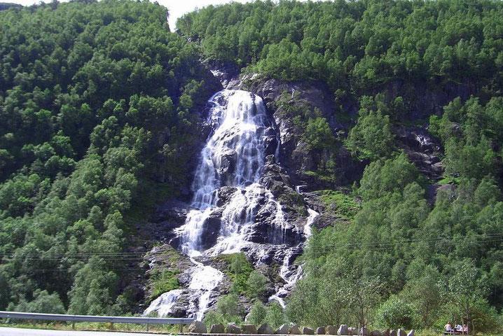 Der Wasserfall endet in den Fluß Suldalsfatnet