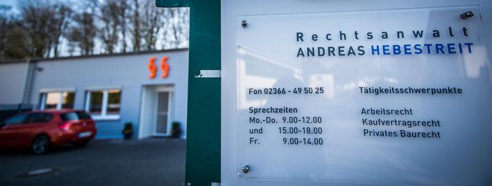 Öffnungszeiten, Telefonnummer und Tätigkeitsschwerpunkte des Rechtsanwalts Andreas Hebestreit aus Herten