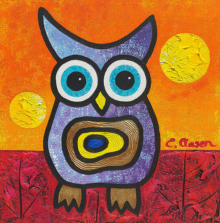 "Edda Clasen, ""Owl"", 30 x 30 cm"
