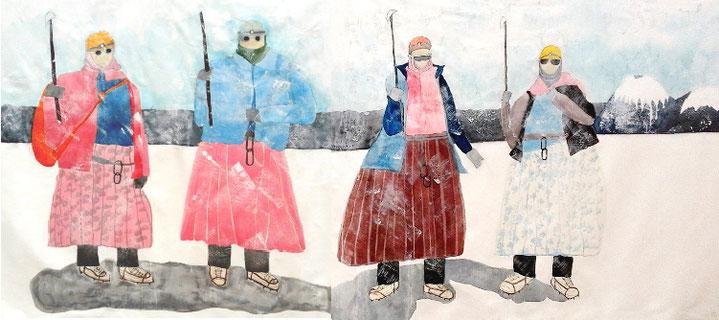 Cholitas escaladoras 130 x 300 cm