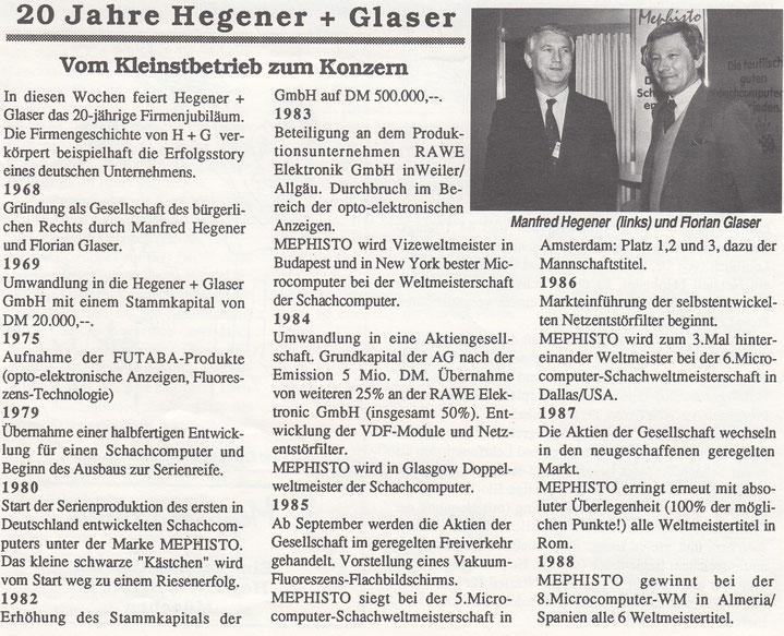 Mailensteine der Firmengeschichte Hegener & Glaser zum 20 jährigen Jubiläum