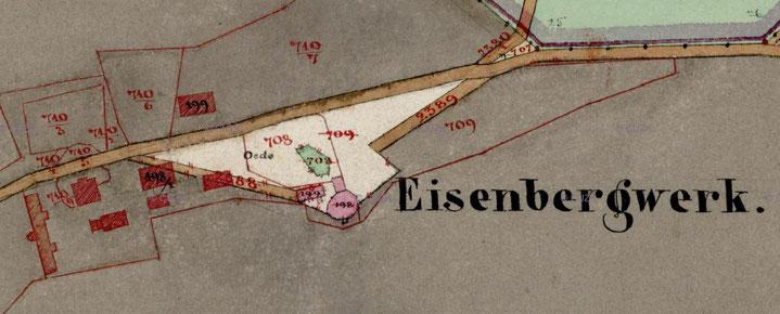 Tagesanlagen des staatlichen Eisenbergwerks auf der 1840 erstellten Katasterkarte für die Gemeinde Hudlitz. ('198' = Pferdegöpel auf dem Hauptförderschacht)