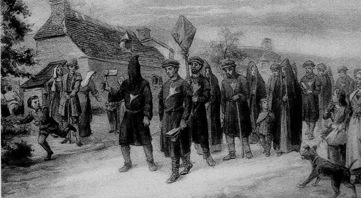 Procession de cagots, une patte d'oie était cousue sur leurs vêtements.