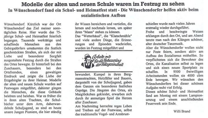 Bild: Wünschendorf Erzgebirge Heimatfest 1952
