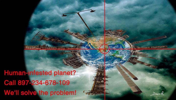 Schädlingsbekämpfung Planet Erde Fotomontage