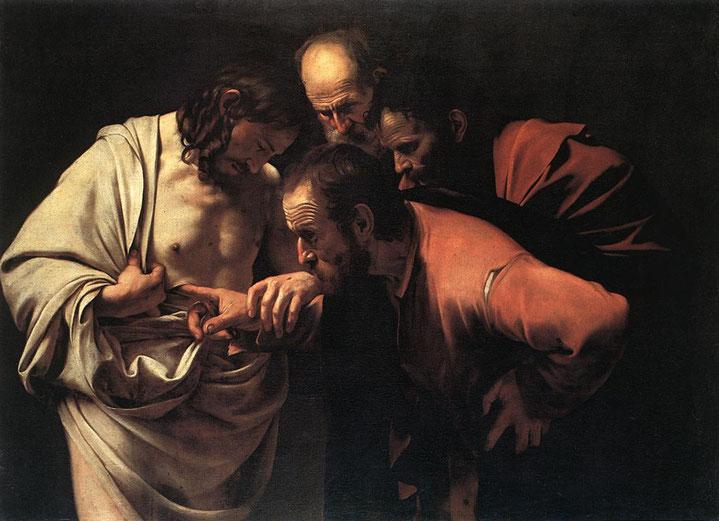 """Caravaggio, """"L'incredulità di San Tommaso"""" (1600-1)"""