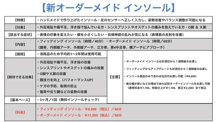 ・ベーシック インソール:¥5,000(+税)/40分 ・オーダーメイド インソール:¥7,000(+税)/40分 ・特急仕上げ料金(その日お渡し):追加で¥1,000(+税)/20分   ・インソール修正:¥4,000(+税)/40分
