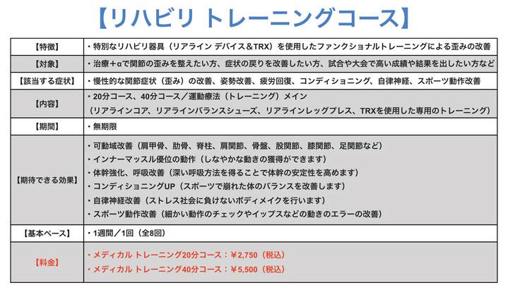 ・メディカル トレーニング20分コース:¥2,500(+税) ・メディカル トレーニング40分コース:¥5,000(+税)