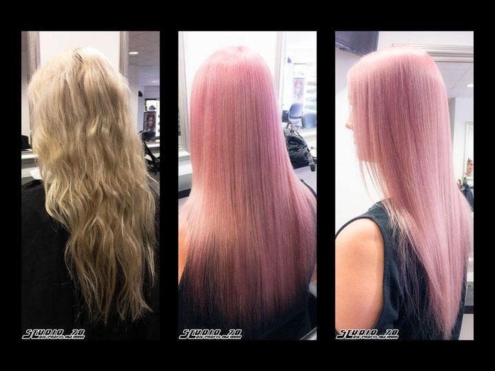 Coloration Haarfarbe Pink vorher nachher