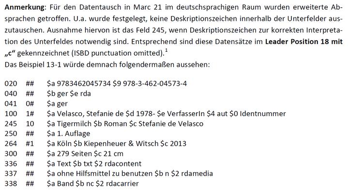 """Beispiel 13-1 aus dem Lehrbuch im """"deutschen"""" MARC-Format"""