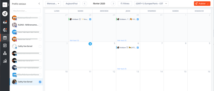 Visualiser le calendrier de publication d'Agorapulse
