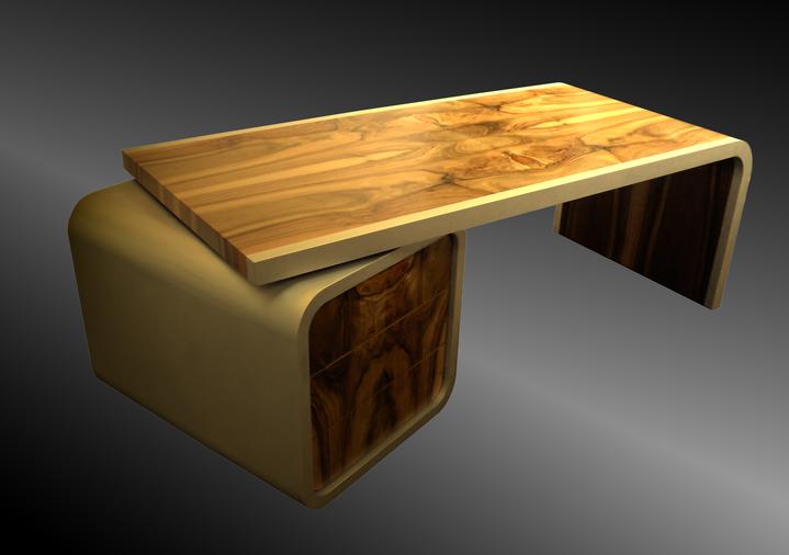 Bild: Schreibtisch Aluminium und Holz