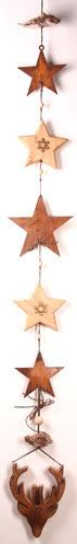 Girlande aus Edelrost- und Holz-Sternen