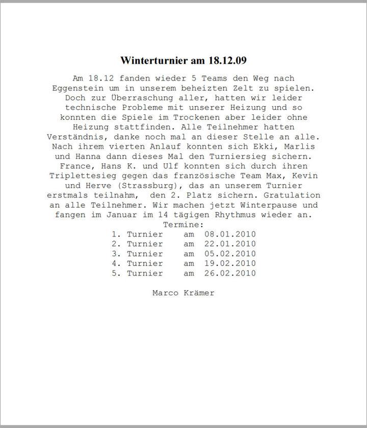 Winterturnier am 18.12.09
