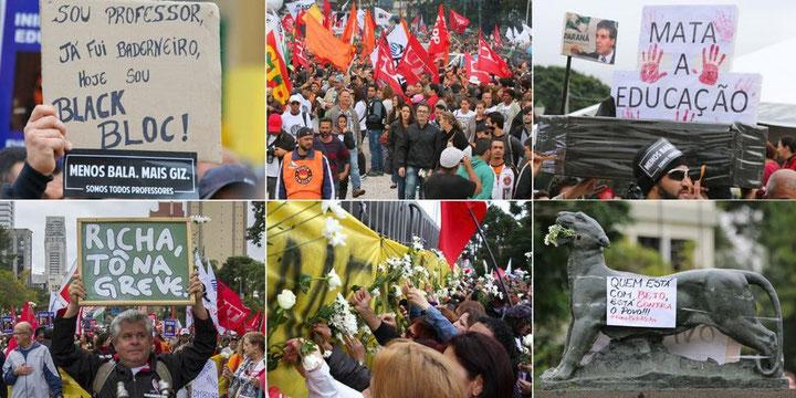 Mangfoldige protester mod regeringens asociale nedskæringsprogram i maj / juni 2015