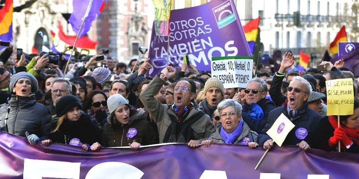 Sociale protester på gaden i Madrid