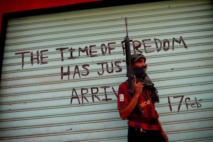 August 2011: Oprører i den erobrede by Savija, 50 km fra Tripoli