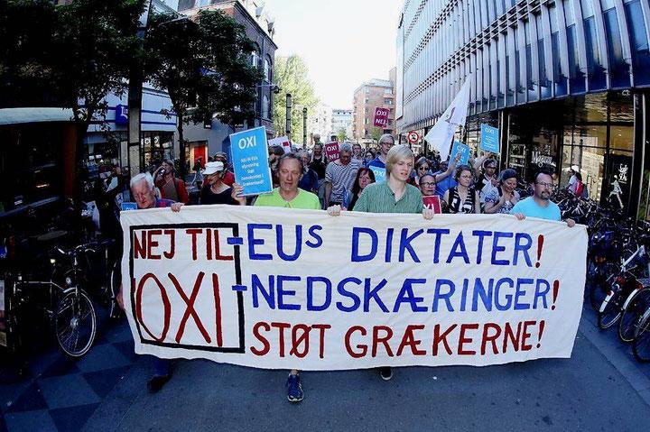 Støttedemo for grækernes selvbestemmelsesret, Århus, d. 2. juli 2015