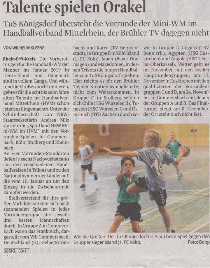 Quelle: Kölner Stadtanzeiger - Rhein-Erft vom 24.10.2018