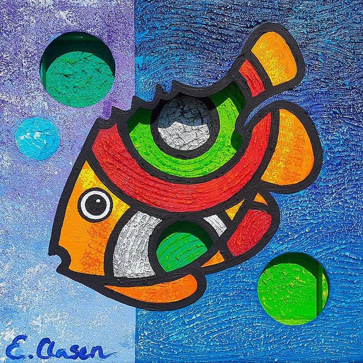 "Edda Clasen, ""Fish, blue"", 30 x 30 cm, 3D"