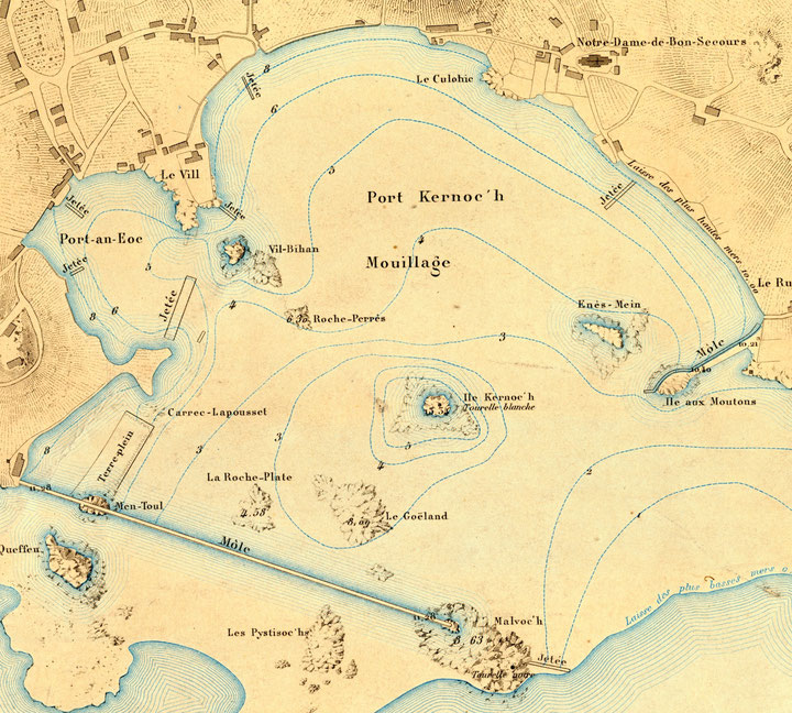 Plan du port en 1877, Chaoser Hir est noté jetée et abrite Porz an eog  (Atlas des ports de France coll. Perso.)