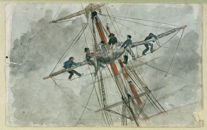 A serrer un  perroquet à bord d'un brick de commerce (National Maritime Museum)