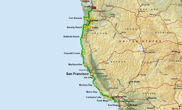 Los Angeles - Seattle, ca. 2.900 km (Microsoft Streets & Trips)