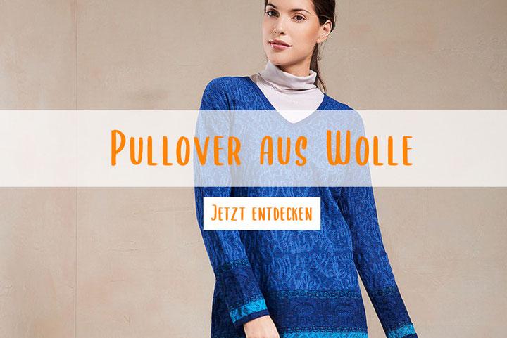 Blauer Pullover gemustert aus Wolle