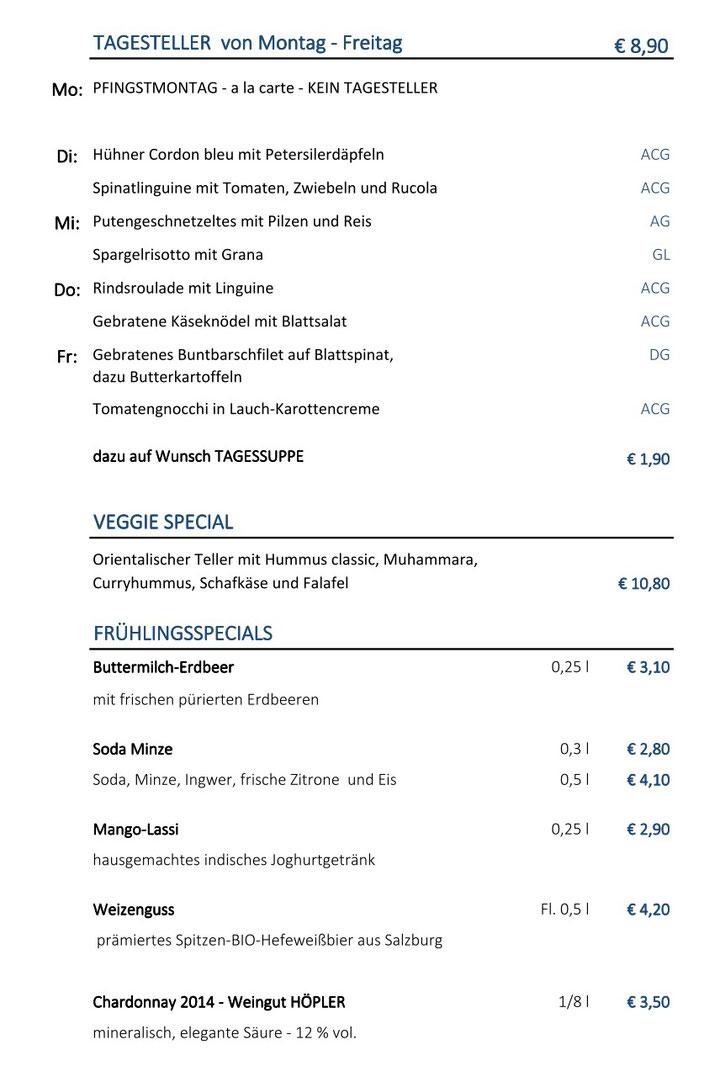 Wochenkarte Cafe Blaustern