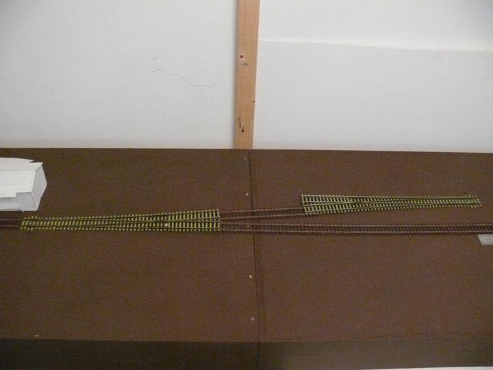 Bild 56: Die Weichenkombination am Gütergleis links = nördliche Bahnhofsseite