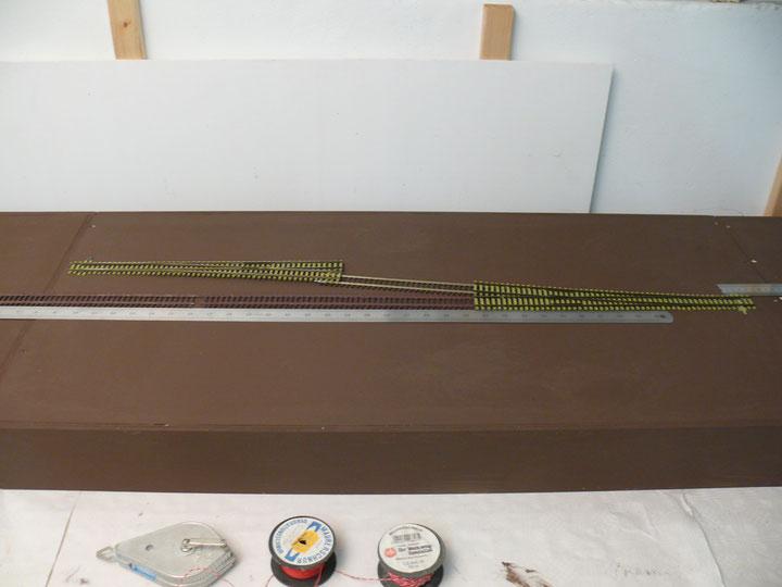 Bild 57: Die Weichenkombination am Gütergleis rechts = südliche Bahnhofsseite