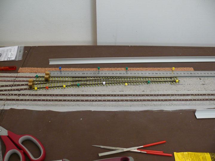 Bild 107: Weiche 2 beim letzten Ausrichten vor dem endgültigen Einbau.