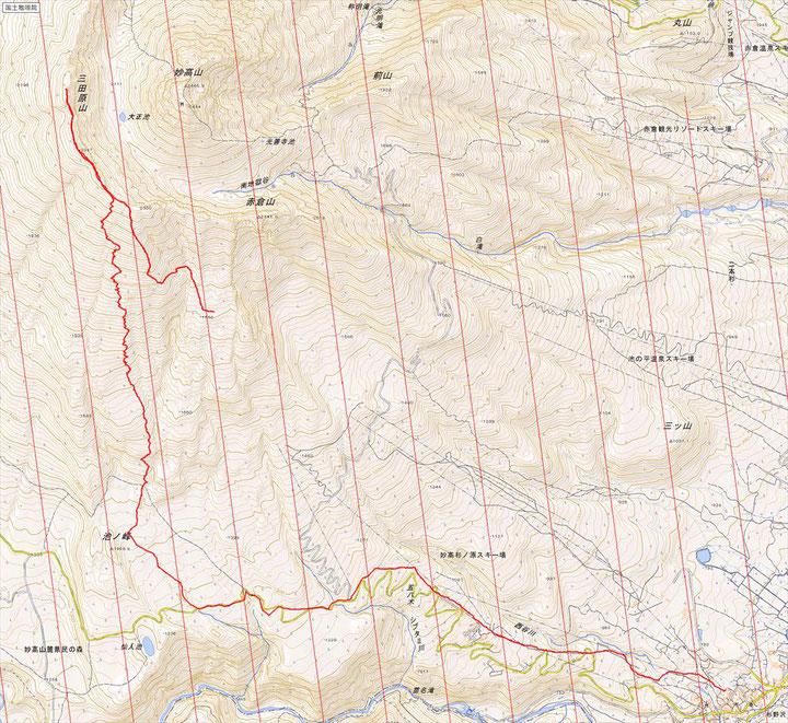 距離 約往復 12.9K  累積標高差 約500m  滑走高低差 1,600m  滑走距離 9.5K