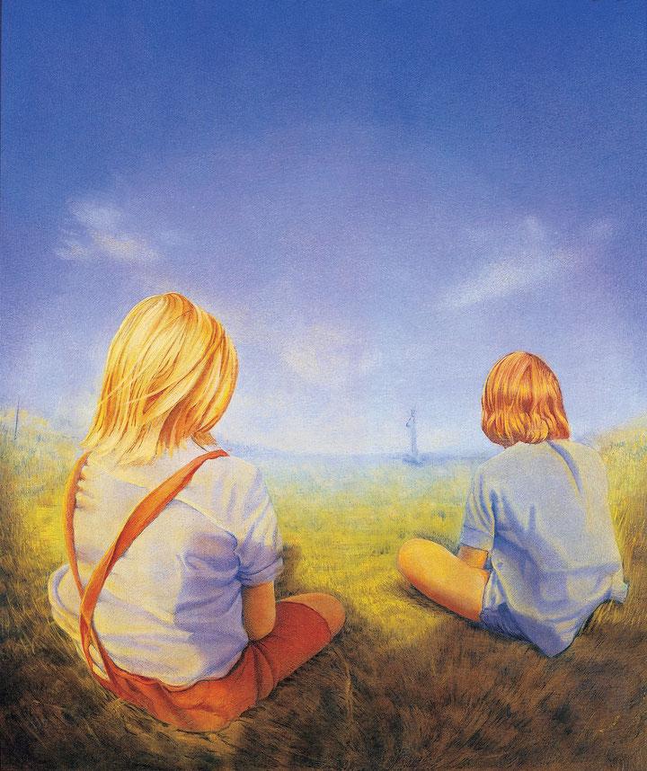 Hanno Karlhuber - Zwei Kinder,  Öl /Tempera auf Holz, 50 x 60 cm, 1989
