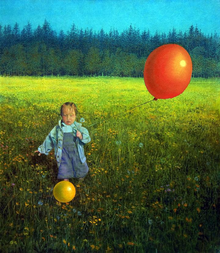 Hanno Karlhuber - Das Erlebnis, Acryl/Öl auf Hartfaser, 60 x 50 cm, 1996