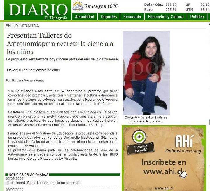 Nota publicada por el diario El Tipógrafo