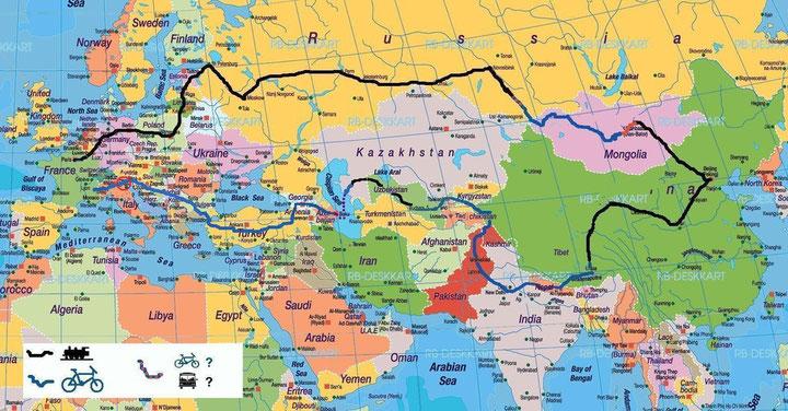 Voici le nouvel itineraire, pour faire sans le visa iranien..