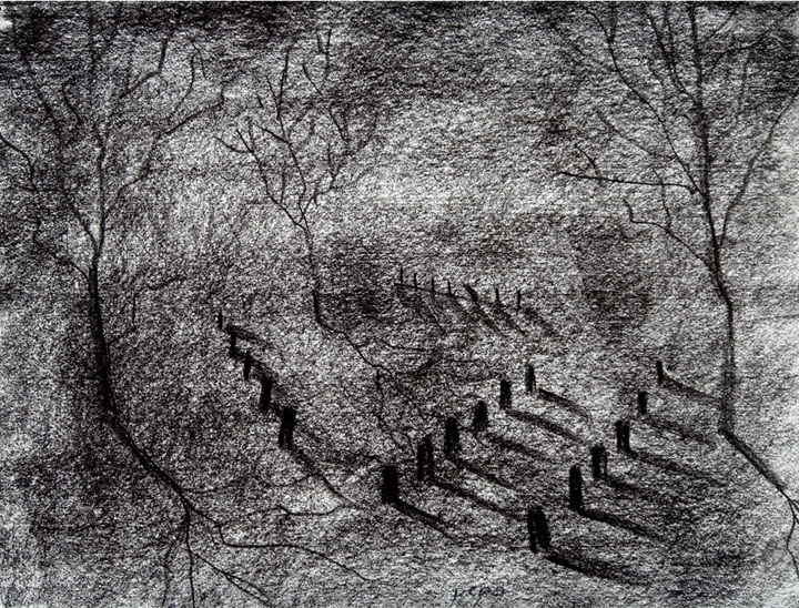 Cementerio 2, 2006 carboncillo 35X28 cm