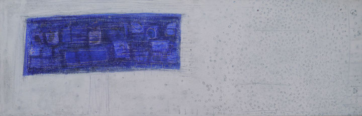 The BHT - Blu I, 2012, acrylic, marble, resin, gold on canvas, 132x42 cm