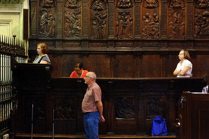 Photographie, Espagne, Andalousie, Jaén, cathédrale, personnages, chaires, chapitre, édifice religieux, art Renaissance, architecture, lumière, prières, sculptures sur bois, Mathieu Guillochon