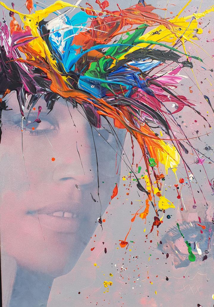 WATCH Leinwand 90x120cm Collage, Acryl, Mischtechnik