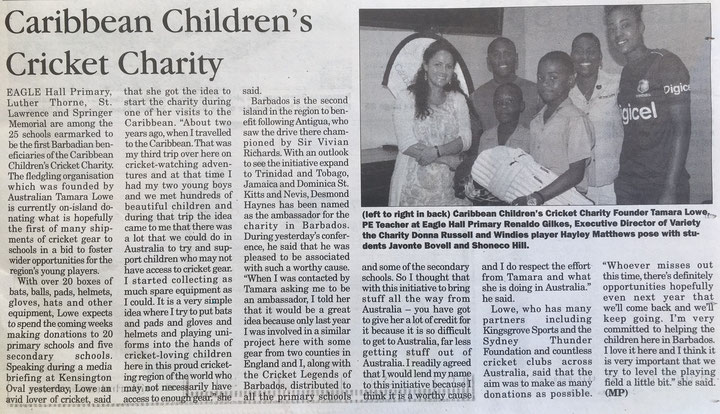 Barbados Advocate article Nov, 2017, explaining the inspiration behind the Children's Cricket Charity.