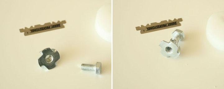 Bildabfolge zur Montage des einfachen Mikrotoms