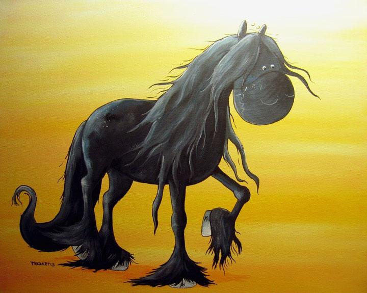 Black Pearl- Friese - Friesian Horse - Acrylbild