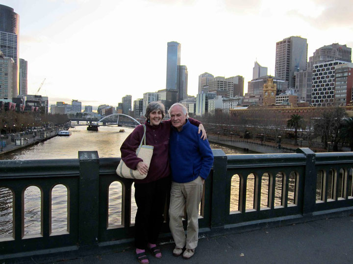 Tom & Cathy standing on Princes Bridge over the Yarra River, Melbourne, Australia - 2011