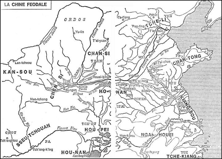 Carte 5. Marcel Granet (1884-1940): La civilisation chinoise. — La renaissance du livre, Paris, 1929. Bibliothèque de Synthèse historique « L'Évolution de l'Humanité », tome XXV.